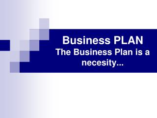 Business PLAN The Business Plan is a necesity...