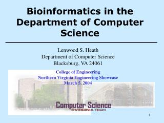 Bioinformatics in the Department of Computer Science