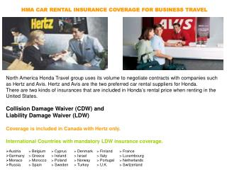HMA CAR RENTAL INSURANCE COVERAGE FOR BUSINESS TRAVEL