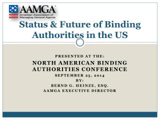 Status & Future of Binding Authorities in the US