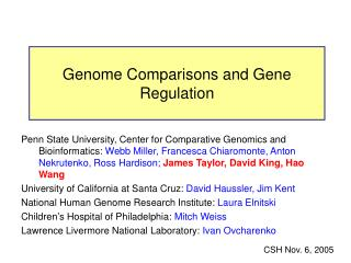 Genome Comparisons and Gene Regulation