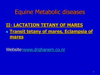 Equine Metabolic diseases