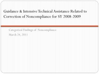 Categorical Findings of  Noncompliance March 24, 2011
