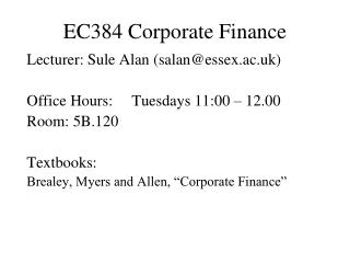 EC384 Corporate Finance