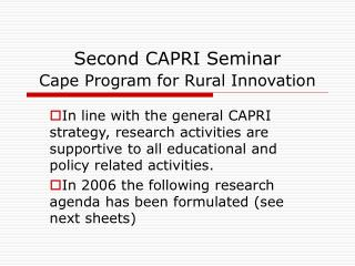 Second CAPRI Seminar  Cape Program for Rural Innovation