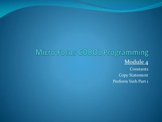 Micro Focus COBOL Programming