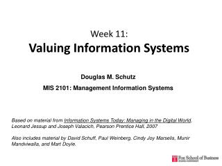 Week 11:  Valuing Information Systems