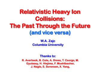Relativistic Heavy Ion Collisions:  The Past Through the Future (and vice versa)