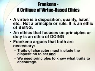 Frankena -  A Critique of Virtue-Based Ethics