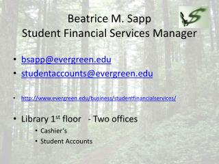 Beatrice  M. Sapp Student Financial Services Manager