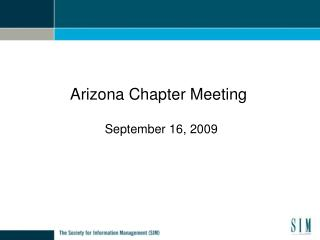 Arizona Chapter Meeting