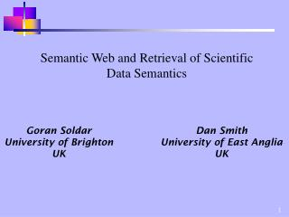 Semantic Web and Retrieval of Scientific Data Semantics