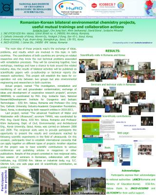 Romanian-Korean bilateral environmental chemistry projects,