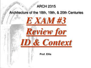 ARCH 2315 Architecture of the 18th, 19th, & 20th Centuries