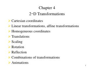 Chapter 4 2 - D Transformations Cartesian coordinates