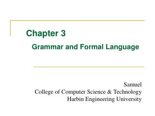 Chapter 3 Grammar and Formal Language