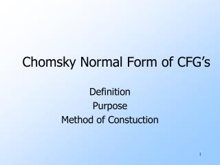Chomsky Normal Form of CFG's