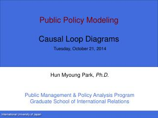 Public Policy Modeling Causal Loop Diagrams Tuesday, October 21, 2014