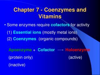 Chapter 7 - Coenzymes and Vitamins