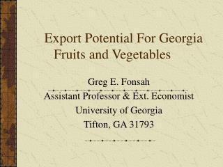 Export Potential For Georgia Fruits and Vegetables