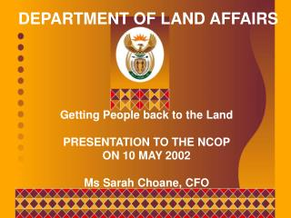 DEPARTMENT OF LAND AFFAIRS