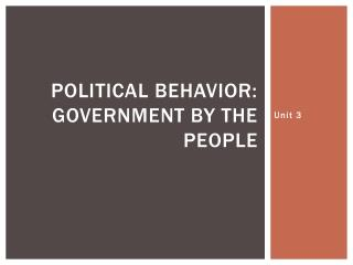 Political Behavior: Government by the people