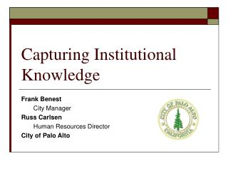 Capturing Institutional Knowledge