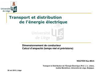 Transport et distribution  de l ' énergie électrique