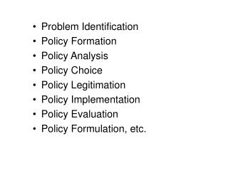 Problem Identification Policy Formation Policy Analysis Policy Choice Policy Legitimation