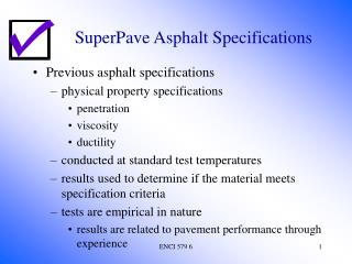 SuperPave Asphalt Specifications