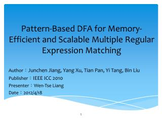 Pattern-Based DFA for Memory-Efficient and Scalable Multiple Regular Expression Matching