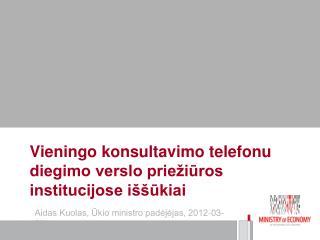 Vieningo konsultavimo telefonu diegimo verslo priežiūros institucijose iššūkiai