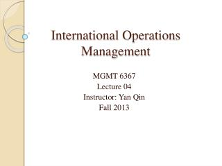 International Operations Management