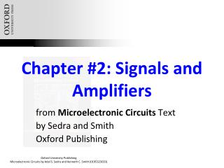 Chapter #2: Signals and Amplifiers