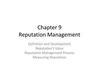 Chapter 9 Reputation Management