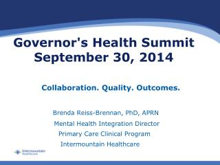 Governor's Health Summit      September 30, 2014