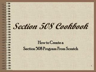 Section 508 Cookbook