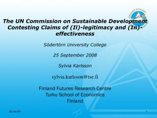 The UN Commission on Sustainable Development