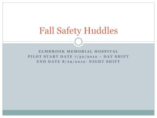 Fall Safety Huddles