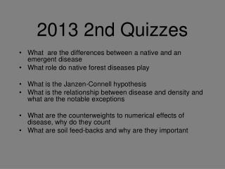2013 2nd Quizzes