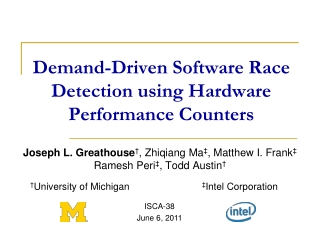 Demand-Driven Software Race Detection using Hardware Performance Counters