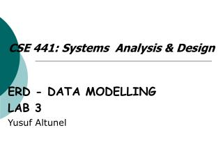 CS E  4 4 1: Systems  Analysis & Design