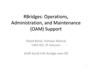 RBridges: Operations, Administration, and Maintenance (OAM) Support