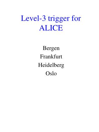 Level-3 trigger for ALICE