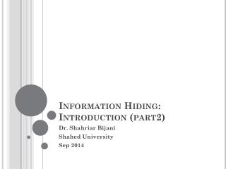 Information Hiding: Introduction (part2)