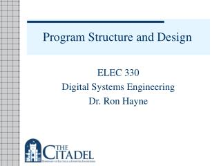 Program Structure and Design