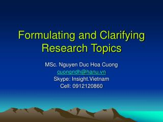 Formulating and Clarifying Research Topics