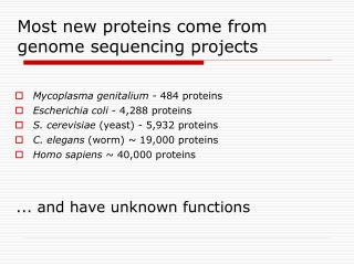 Most new proteins come from genome sequencing projects