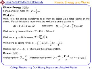 Kinetic Energy and Works