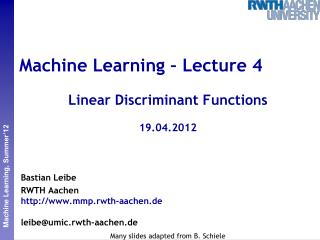 Machine Learning – Lecture 4